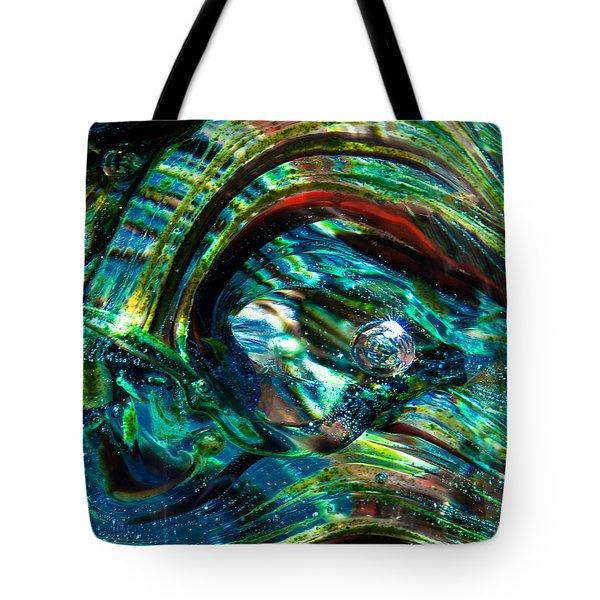 Glass Macro - Blue Green Swirls Tote Bag by David Patterson