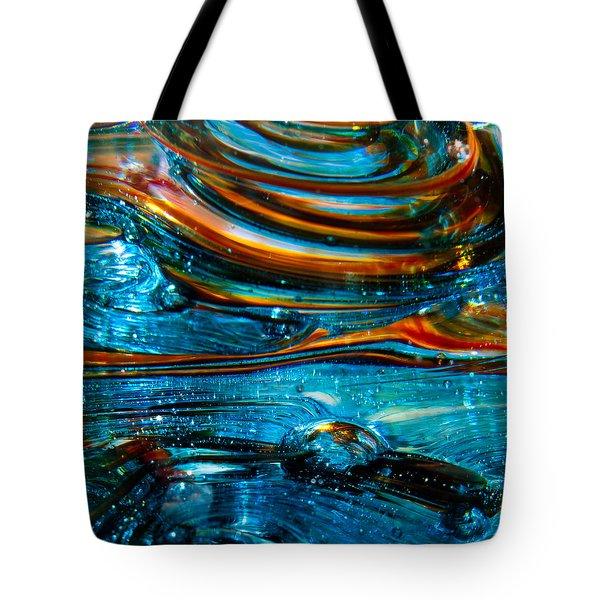 Glass Macro - Blue Swirls Tote Bag by David Patterson