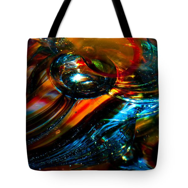Glass Macro - Blues And Orange Tote Bag by David Patterson