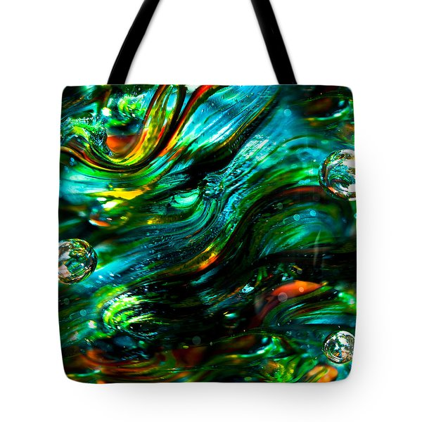 Glass Macro - Greens And Blues Tote Bag by David Patterson