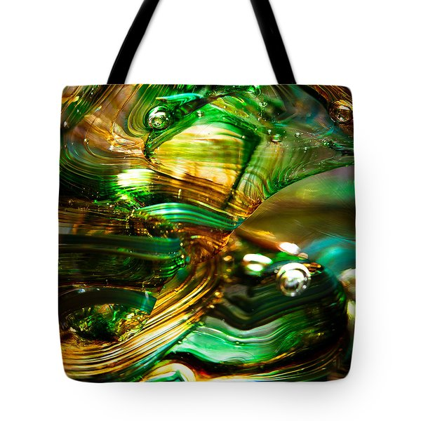 Glass Macro - Waves Of Amber Tote Bag by David Patterson
