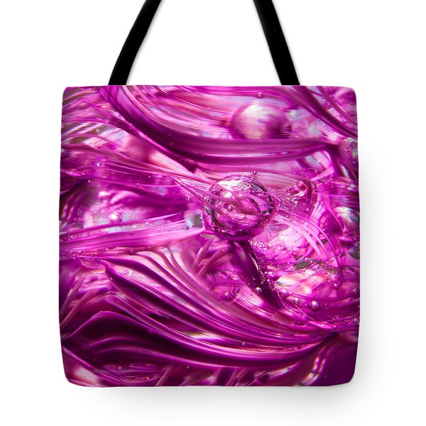 Glass Macro - Waves Of Pink Tote Bag by David Patterson