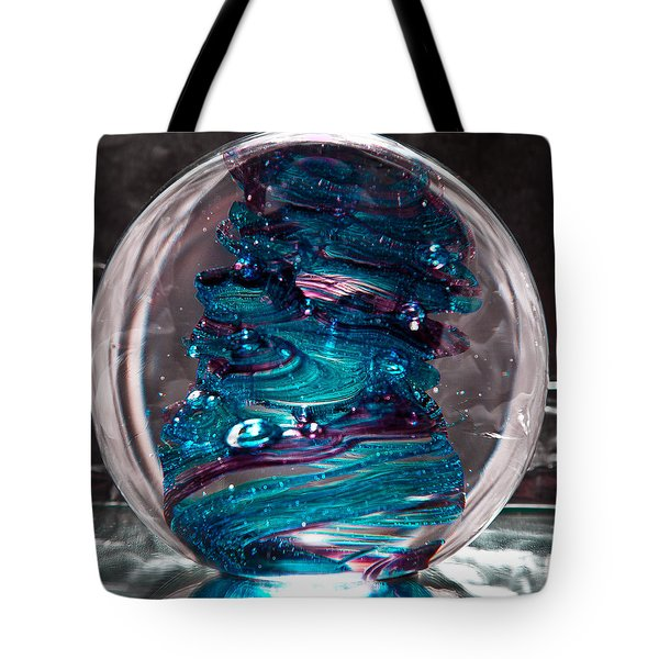 Glass Sculpture Blues And Purple Rb4 Tote Bag by David Patterson