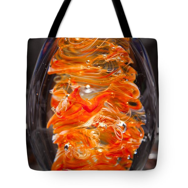 Glass Sculpture Orange And White Ego1  Tote Bag by David Patterson