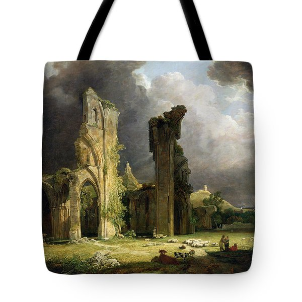 Glastonbury Abbey With The Tor Tote Bag