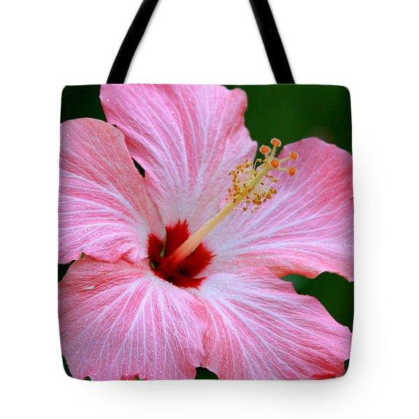 Glitter Pink Hibiscus Tote Bag