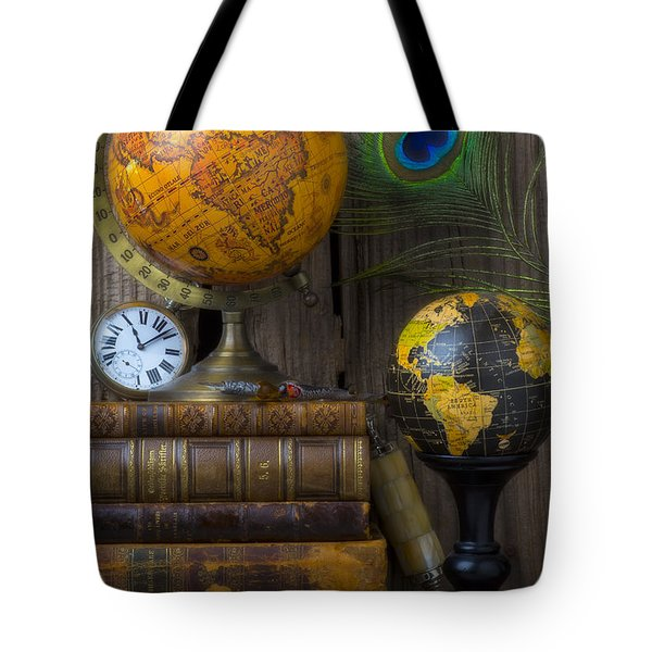 Globes And Old Books Tote Bag by Garry Gay
