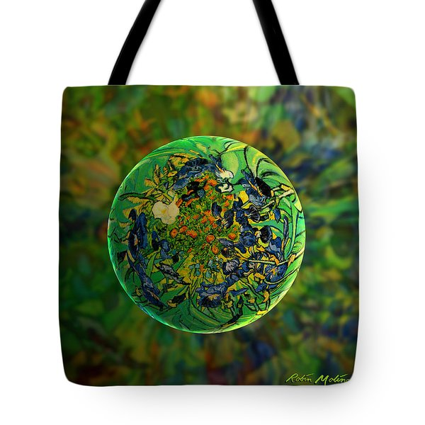 Globing Earth Irises Tote Bag by Robin Moline