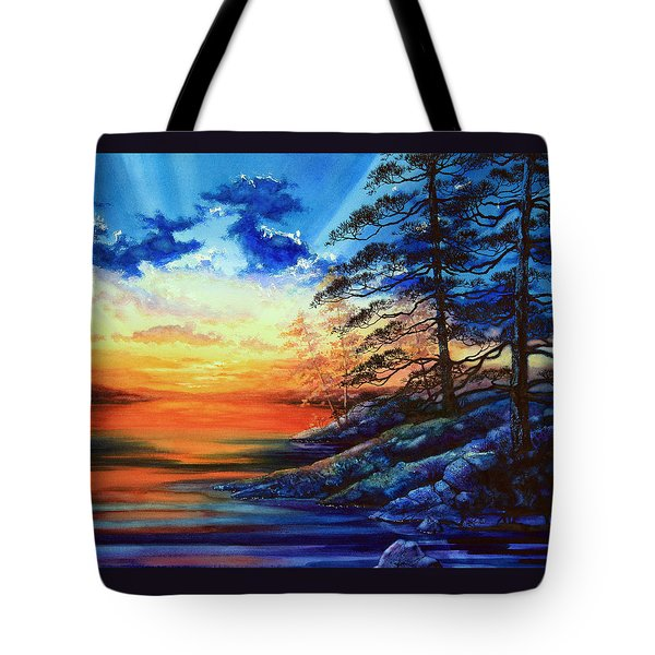 Glorious Lake Sunset Tote Bag by Hanne Lore Koehler