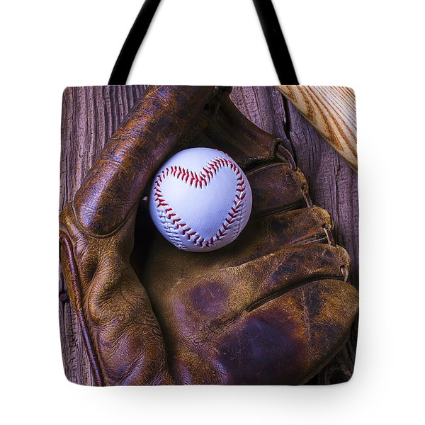 Glove And Heart Baseball Tote Bag by Garry Gay