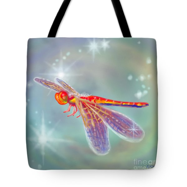 Glowing Dragonfly Tote Bag by Audra D Lemke