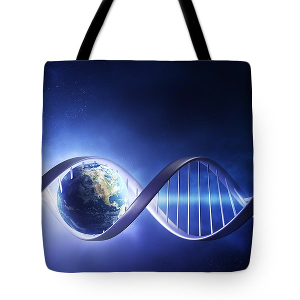 Glowing Earth Dna Strand Tote Bag