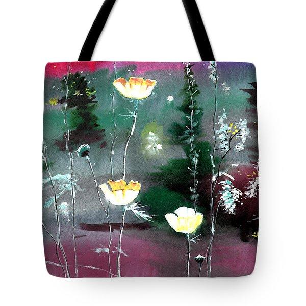 Glowing Flowers Tote Bag by Anil Nene