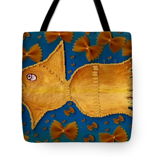 Glowing  Gold Fish Tote Bag by Pepita Selles