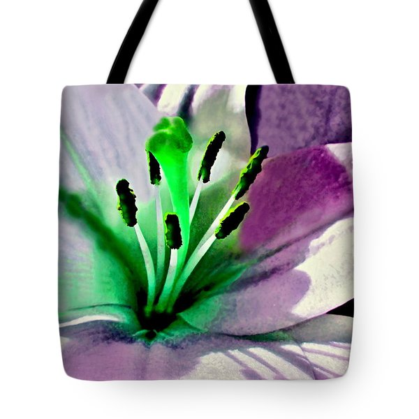 Glowing Lily Heart  Tote Bag by Danielle  Parent