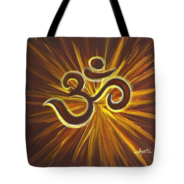Tote Bag featuring the painting Glowing Om Symbol by Agata Lindquist