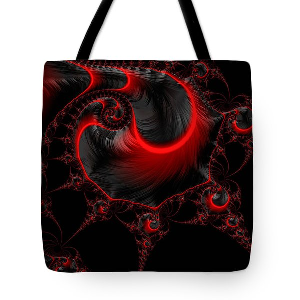 Glowing Red And Black Abstract Fractal Art Tote Bag