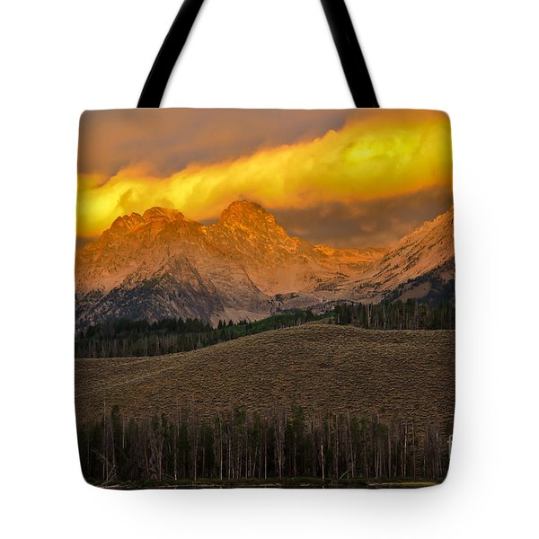 Glowing Sawtooth Mountains Tote Bag