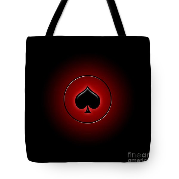 Glowing Spade Card Suit Tote Bag by Gaspar Avila
