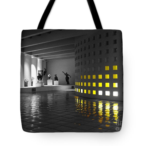 Tote Bag featuring the photograph Glowing Wall Color Spash Black And White by Shawn O'Brien