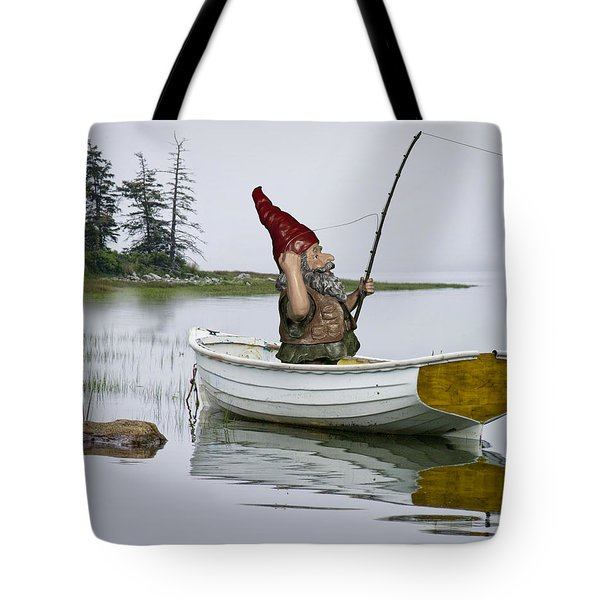 Gnome Fisherman In A White Maine Boat On A Foggy Morning Tote Bag