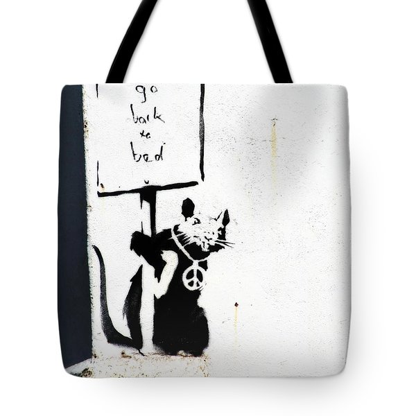 Go Back To Bed Protester Tote Bag by A Rey