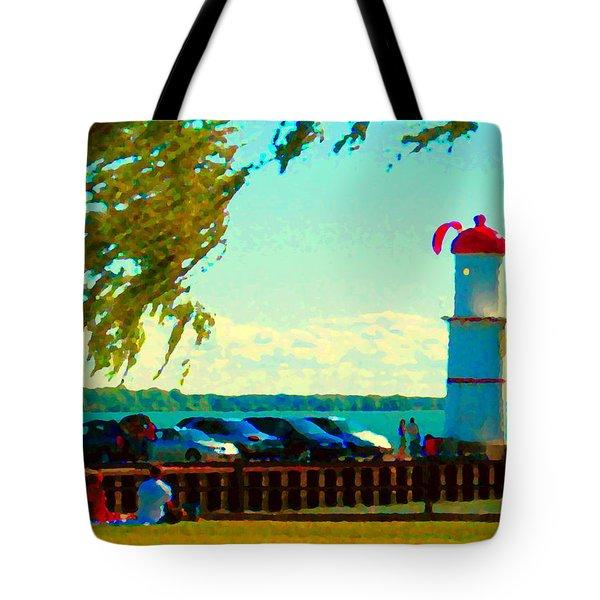 Go Fly A Kite Off A Short Pier Lachine Lighthouse Summer Scene Carole Spandau Montreal Art  Tote Bag by Carole Spandau