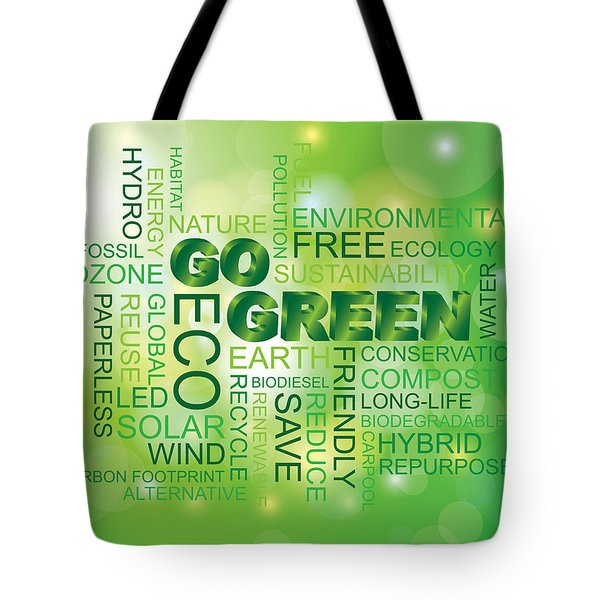 Go Green Word Cloud Green Background Tote Bag