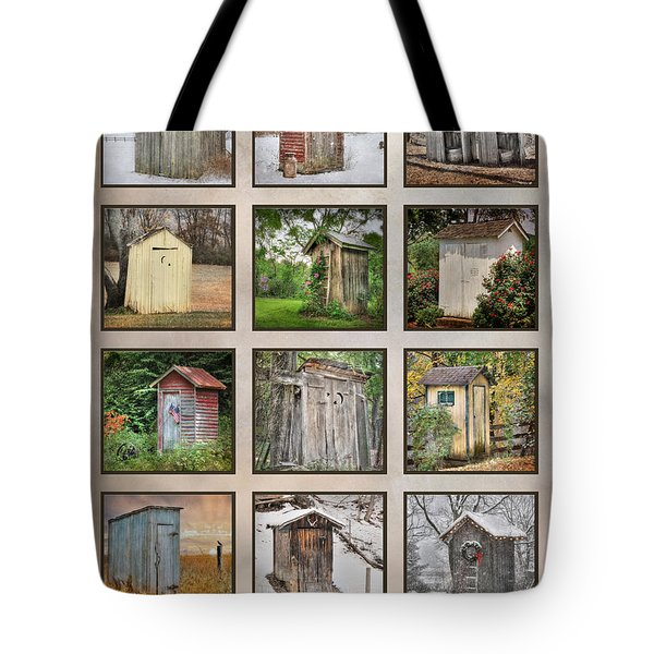 Go In Style - Outhouses Tote Bag by Lori Deiter