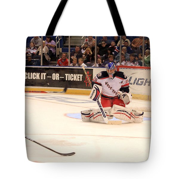Goalie Protects Tote Bag by Karol Livote