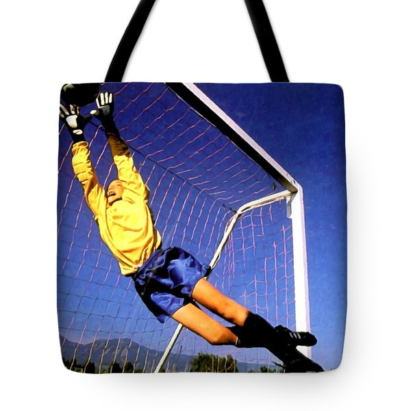 Goalkeeper Catches The Ball Tote Bag by Lanjee Chee