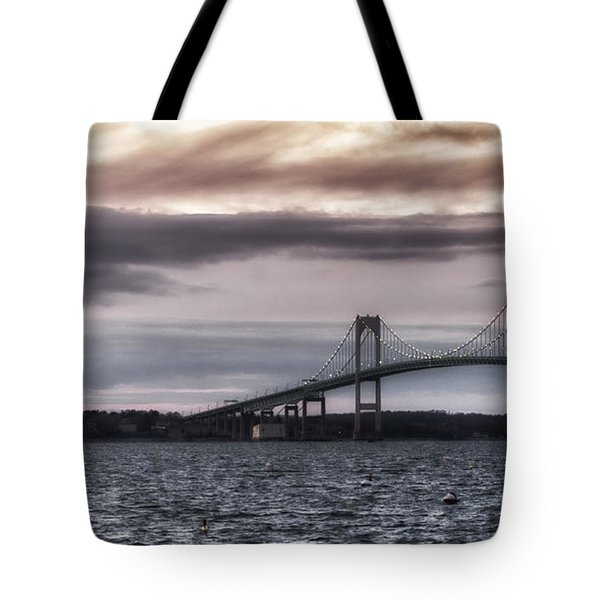 Goat Island Lighthouse And Newport Bridge Tote Bag