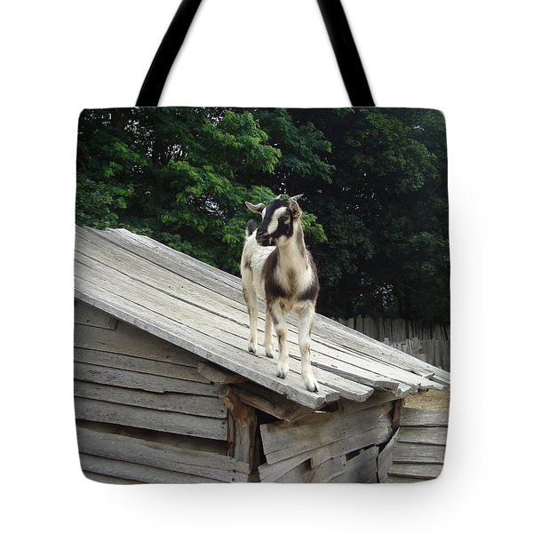 Tote Bag featuring the photograph Goat On The Roof by Kerri Mortenson