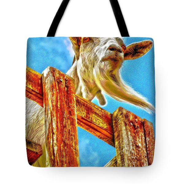 Goat Up High Tote Bag by Annie Zeno