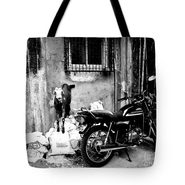 Goatercycle Black And White Tote Bag