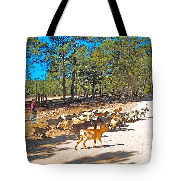 Goats Cross The Road With Tarahumara Boy As Goatherd-chihuahua Tote Bag