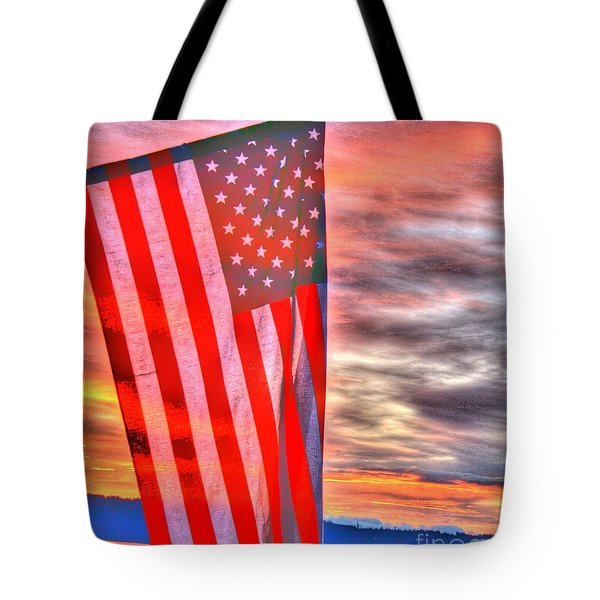 God Bless America Over Puget Sound Tote Bag
