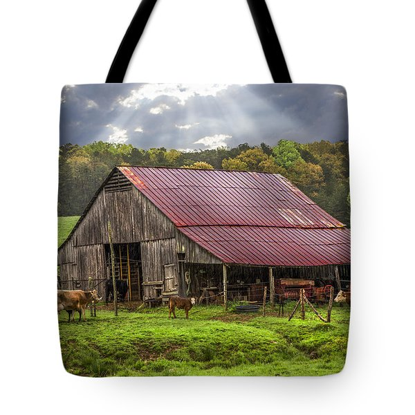 God Bless The Farmer Tote Bag by Debra and Dave Vanderlaan
