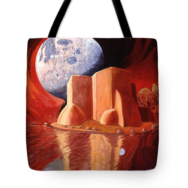 Tote Bag featuring the painting God Is In The Moon by Art James West