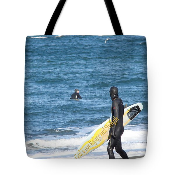 God Is Our Refuge At The Ocean Tote Bag by Beverly Guilliams