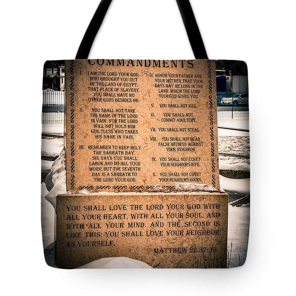 God's Ten Commandments Tote Bag