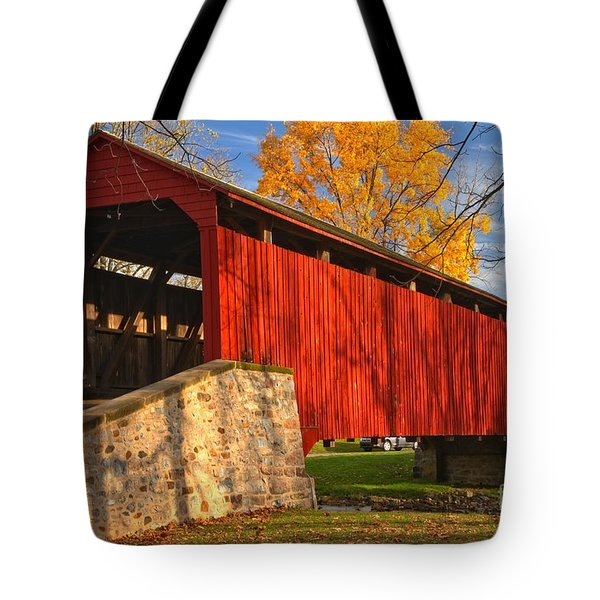 Gold Above The Poole Forge Covered Bridge Tote Bag
