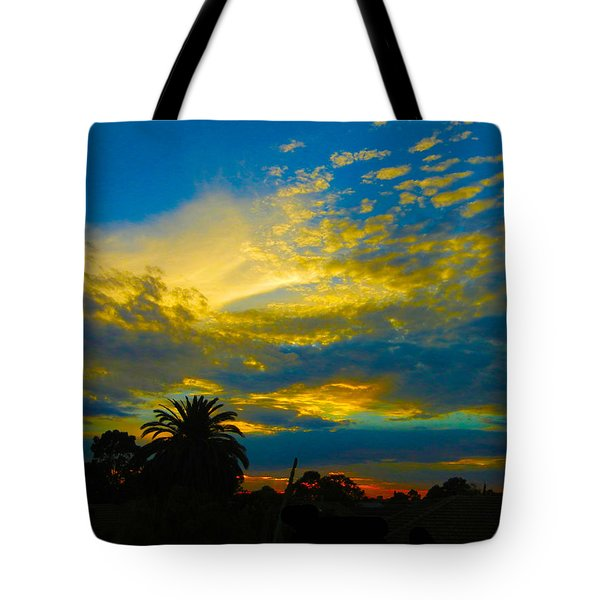 Gold And Blue Sunset Tote Bag