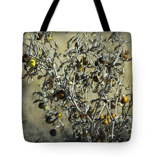 Tote Bag featuring the photograph Gold And Gray - Silver Nightshade by Nadalyn Larsen