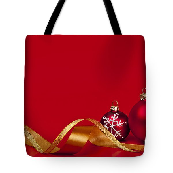 Gold And Red Christmas Decorations Tote Bag