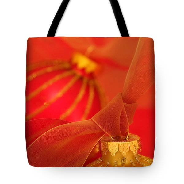 Gold And Red Ornaments With Ribbons Tote Bag