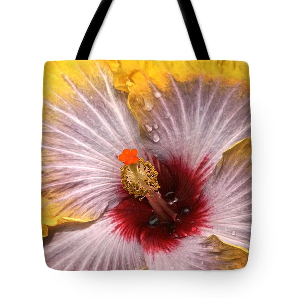 Gold And Silver And Ruby Hibiscus Close Up Tote Bag by Byron Varvarigos