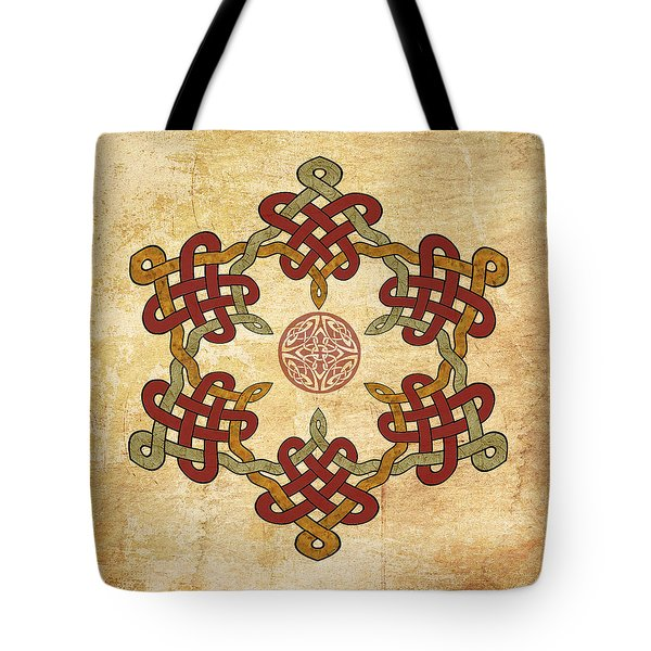 Gold Burgundy Celtic Knot Tote Bag by Kandy Hurley