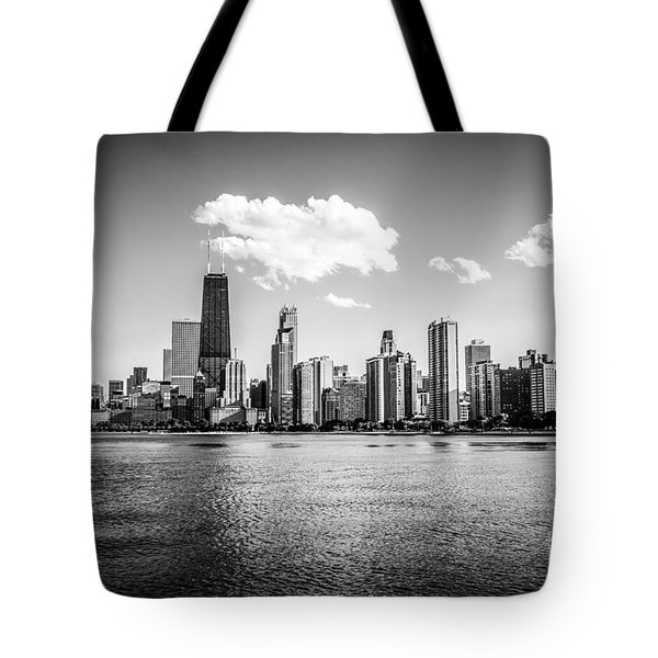 Gold Coast Skyline In Chicago Black And White Picture Tote Bag by Paul Velgos