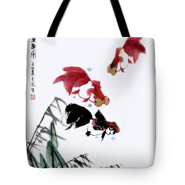 Gold Fish Tote Bag by Yufeng Wang